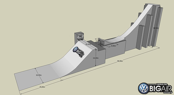 Drawing of the big air ramp used in Antwerp, Belgium, for the first ever FIS Snowboard World Cup in Belgium, the 2013 season's first big air contest.     © Organiser